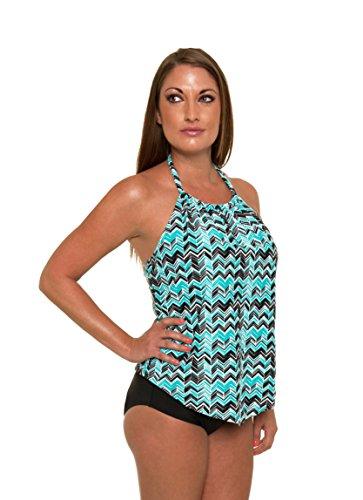 Sea & Sand Beachwear Aqua Chevron Tankini Set Bathing Suit, 24