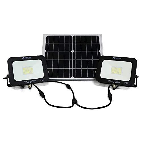 グッドグッズ(GOODGOODS) 分離型 LED ソーラー 投光器 2灯式 30W 屋外 防水 昼光色 ソーラーライト 充電池交換可 災害・停電 TYH-30WA