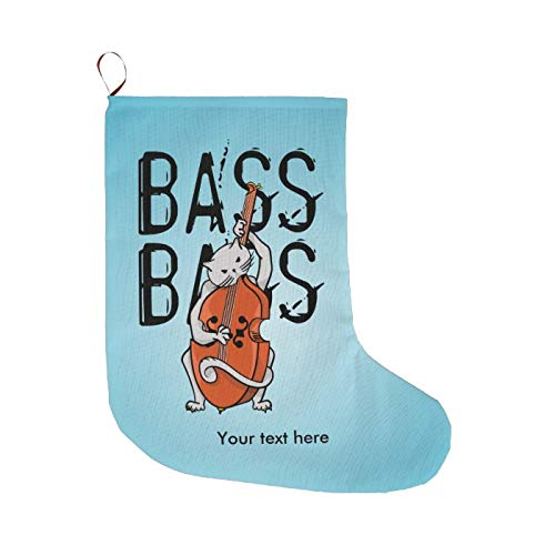 McC538arthy Christmas Stockings 18 Inches Fireplace Hanging Stocking Cute Cat Playing A Double Bass Or Cello Xmas Tree Ornament Stuffers Accessories for Family Holiday Party
