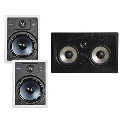 "Polk Audio 255C-RT 2-way In-Wall Center Channel Speaker & Audio RC85i 2-way Premium In-Wall 8"" Speakers, Pair of 2 Perfect for Damp and Humid Indoor/Outdoor Placement (White, Paintable Grille)"