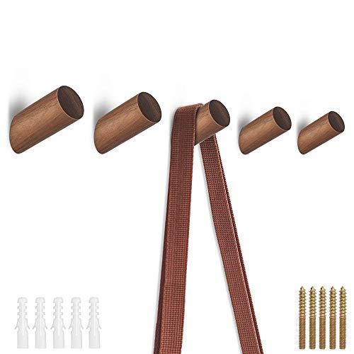 MUXItrade Holz Kleiderhaken 5 Stücke,Schwarze Walnuss Natürliche Wand montiert Kleidung Schal Hut Tasche Lagerung Kleiderbügel Handtuchhalter Schlafzimmer Dekoration Pflöcke, Durchmesser 30mm