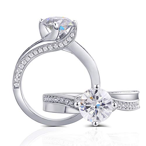 DovEggs Center 1.5 Carat G-H-I Color Moissanite Stone Engagement Ring Solitare with Accents Platinum Plated Silver for Women (7)