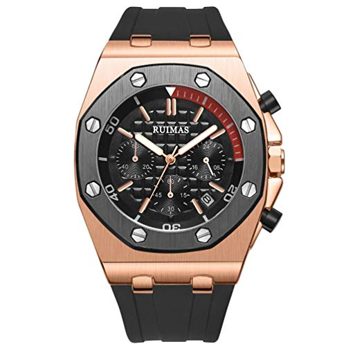 RUIMAS Herren Uhren Schwarz Silikon Armband Große Armbanduhr Chronograph Leuchtend Wasserdicht (Schwarz_)