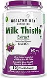 HealthyHey Nutrition Milk Thistle 25:1 (Silymarin Marianum) - 600mg Extract - Support Liver