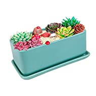 Vencer 10 Inch Rectangular Modern Minimalist Ceramic Succulent Planter Pot - Window Box with Saucer,Office Desktop Potted Stand,Turquoise,VF-001T
