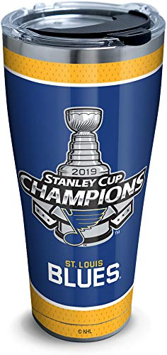 Tervis NHL St. Louis 2019 Stanley Cup Champions Isolierbecher mit Wrap und blauem Reisedeckel, 454 ml, Tritan, transparent Clear and Black Lid 30 oz - Stainless Steel silber