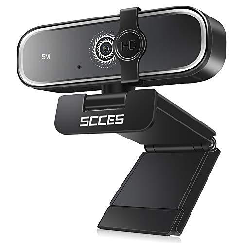 SCCES Webcam, 1944p PC Kamera, 2K QHD, USB WebKamera für PC Laptop, 5M Pixel, Desktop mit Stereo-Mikrofon, Autofokus, Gute Kamera für Studieren, Konferenz, Videochat, Streaming, Bussiness