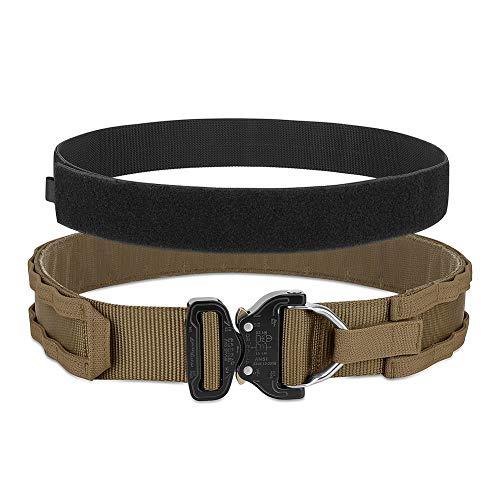"PETAC GEAR Tactical Rigger's Belt with Cobra Buckle MOLLE Gun Belt Heavy Duty Belt Range Belt 1.75"" Inner Belt 2"" Outer Belt Coyote Brown Small"