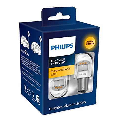 Philips automotive lighting 11498XUAXM LED Lampadina di Segnalazione per Auto (PY21W Amber), Arancio, Set di 2