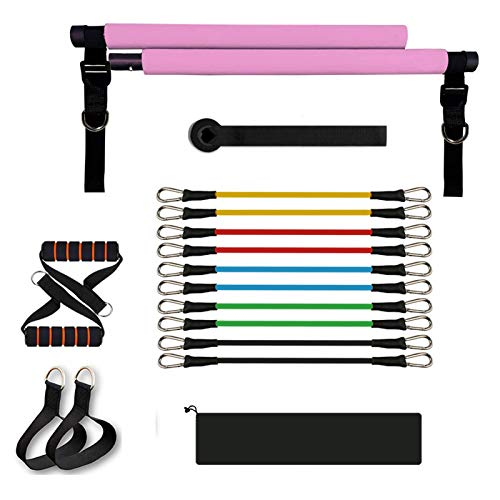 Sfeexun Pilates Exercise Bar Kit with 10 Elastic Adjustable Resistance Bands, 300lbs Yoga Resistance Bands for Legs and Butt, Pilates Stick with Foot Straps Door Anchor for Full Body Workout (Pink)