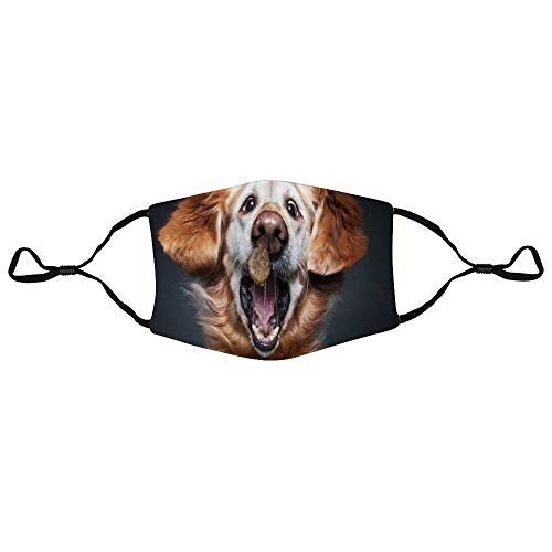 DONL9BAUER Funny Dogs Catching Treats in The Air 3-Layer Cotton Mouth Cover Animal Reusable Washable Fashion Dust Mouth Protection with Adjustable Ear Loops Warm Unisex