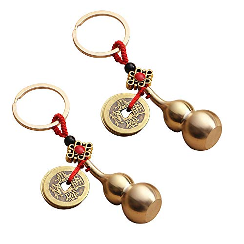 Kingzhuo 2 Pieces Wu Lou Key Chain Beautiful Gourd Keychain Lucky Keychain Set with Feng Shui Coins Solid Key Rings for Good Luck Prosperity Can Put a Lucky Note Inside Cute Keychain Quality Brass
