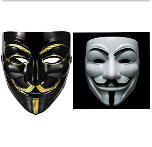 Sage Square Vendetta Comic FACE MASK Fawkes Mask Anonymous VIP Edition Face-Mask Perfect Fit Cosplay Protest V for Vendetta DC Comics (Black & White) (Pack of 2)