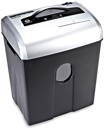 AmazonBasics Destructeur de documents 10 à 12 feuilles coupe croisée avec destructeur de CD Noir et argent