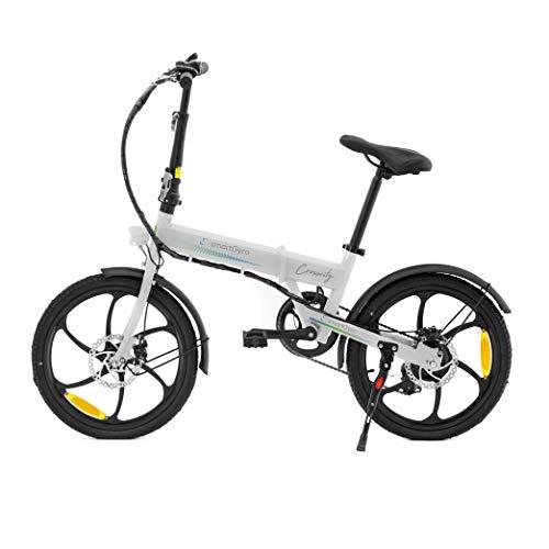 SMARTGYRO Ebike Crosscity White - Bicicleta Eléctrica Urbana, Ruedas de 20', Asistente al Pedaleo, Plegable, Batería extraíble de Litio 36V de 4.4 mAh, Freno de Disco, 6 velocidades Shimano