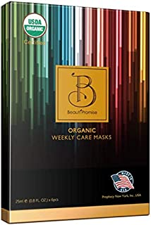 BeautiPromise USDA Certified Organic Facial Sheet Face Mask, 6 Pack (Weekly Care Variety)
