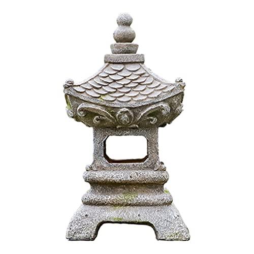 Cabilock Pagoda Laterne Solarleuchte Solarlaterne Asiatische Chinesische Laterne Statue mit Beleuchtung Kunstharz Garten Ornament Rasen Rasen Terrasse Landschaft Lampe Party Dekoration