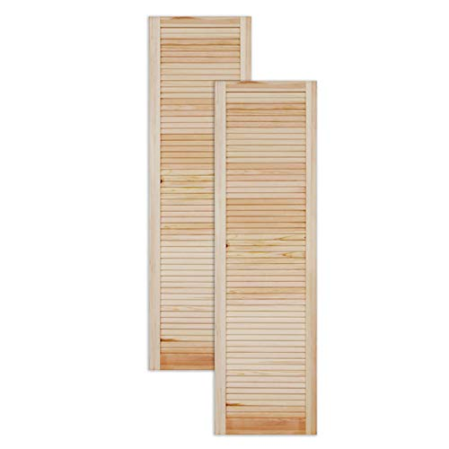 Lamellentür Holztür natur 1400 x 394 x 21 mm mit geschlossenen Lamellen für Regale, Schränke, Möbel   Kiefer Holz unbehandelt   Doppel-Paket 2-er Pack