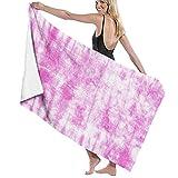 Toalla de Playa de Microfibra de Gran tamaño,Old Blue Shibori Pink Tie Dye Artí,Toalla de baño Absorbente Suave y Ligera para Nadar, Deportes, Piscina, Gimnasio, Camping (52 × 32 Pulgadas)