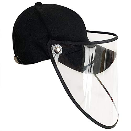 QfireQ Schutzkappe Baseballkappe Anti-Beschlag-Mütze Sonnenhut mit UV-Isolierung, Abnehmbare Kappe Aus PVC Anti-Fog-Schutzhaube Gesichtsmaske Kappe Unisex,Schwarz