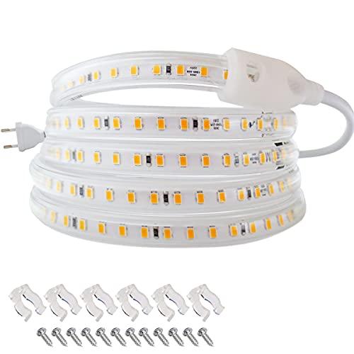Tiras de luz LED 220V, Tesfish AC 220V, 120 LEDs / M Blanco Cálido 3000K IP67 Impermeable Tiras de Luces LED con Enchufe de la EU para Interior y Exterior, Armarios de Cocina, Decoración de Jardín