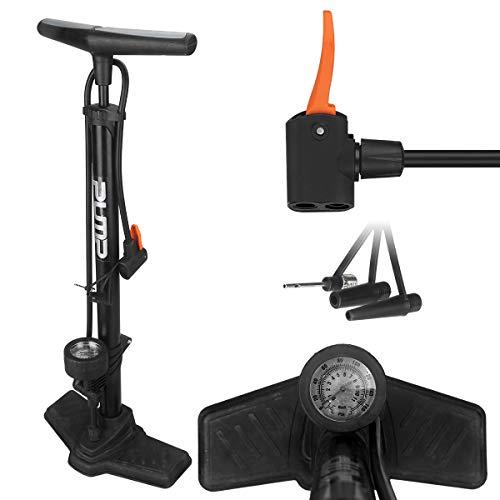 Decomen Fahrradpumpe Profi Standpumpe mit Manometer alle Ventilarten Air X-Press AV/DV/SV für BMX Mountainbikes Rennrad