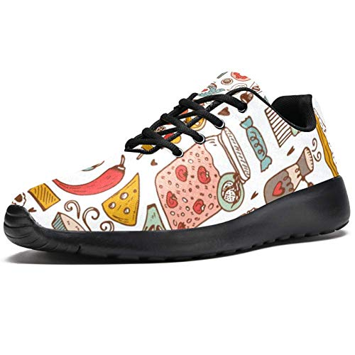 TIZORAX Laufschuhe für Herren, für Pizza, Fast Food, Kuchen, Desserts, modische Sneakers, Netzstoff, atmungsaktiv, Wandern, Tennisschuhe, Mehrfarbig - mehrfarbig - Größe: 42 2/3 EU