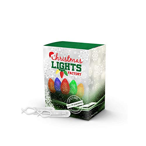 CHRISTMAS LIGHTS FACTORY - Holiday Light Hanging Clip - All-in-ONE Plus - for C9, C7, and LED Mini Lights - 50 Clips - Install Your Christmas Lights so Each Bulb is Perfectly Oriented and Spaced.