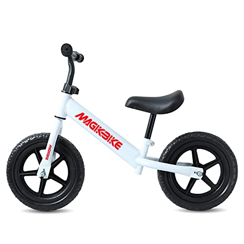 MAGIKBIKE - Bicicleta sin pedales, bicicleta de equilibrio | Primera bicicleta sin pedales | Balance Bike | Manillar y asiento ajustables | De 3 a 5 años (ruedas planas)