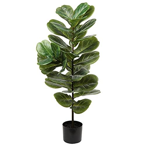 Árbol artificial de 40 pulgadas de hoja de violín artificial de imitación Ficus Lyrata planta de...