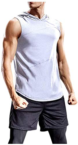 MaryAPerez Men's Hooded Tank Tops Sleeveless Bodybuilding Training Gym Shirts Muscle Cut Off T Shirt Vests Tops