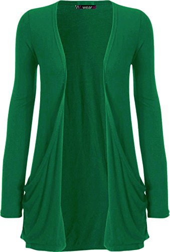 WearAll Neu Damen Langarm Freund Boyfriend Style Strickjacke Cardigan Top - Jade - 40-42