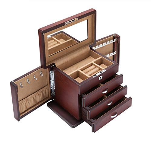 Hand-made Four-layer Drawer Jewelry Box, Large-capacity Wooden Jewelry Box Storage Box With Lock, Used For Ring Earrings, Necklaces, Bracelets, Gifts, 23x14x16.5cm