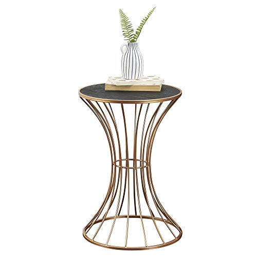 [en.casa] Tavolino da Salotto a Forma di Clessidra Tavolino d'Appoggio Struttura in Metallo Color Rame Piano in MDF Color Nero