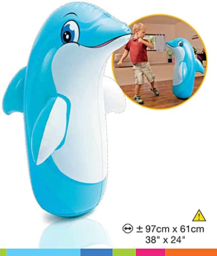 NHR Hit Me Inflated Toy for Kids Inflatable Dolphin Toy Water Filled Base BOP for Toddlers PVC Punching Bag for Kids (Blue)