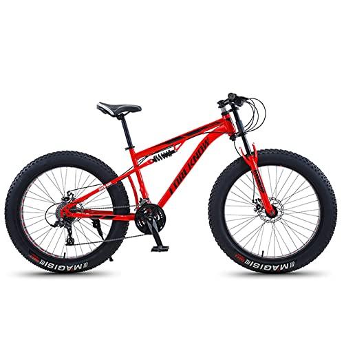 Bicicleta Montaña MTB 26/24 Pulgadas, Premium Doble Suspensión Bicicleta de Montana de Fat Tire para Adultos Niña, Niño, Hombre y Mujer, Marco de Acero Carbono,Rojo,26 Inch 30 Speed