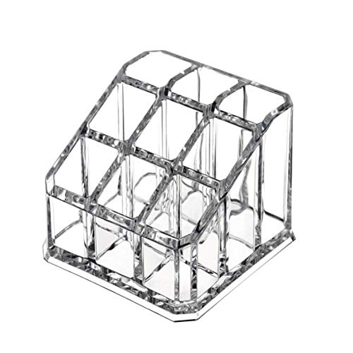 Jewellery Transparent Cosmetic Makeup Organizer Clear 9 Lattices Lipsticks Cosmetic Makeup Organizer Storage Display Holder Stand Bracelets Earrings Rings Necklaces