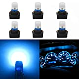 WLJH Ice Blue 194 T10 W5W Led Bulb Light PC195 PC194 PC168 Twist Socket Gauge Instrument Cluster Dashboard Bulbs Dash Lights 12V Extremely Bright,Pack of 6