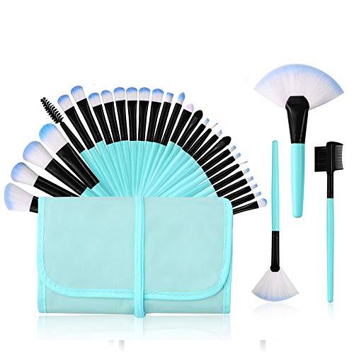 Brosse cosmétiques Fondation brosse ombre à paupières brosse lèvres brosse oeil de brosse pour le visage avec un sac en nylon, Make Up Brush Set Professional 32 pcs,Bleu