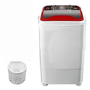 FDY Lavadora Portátil De Tina Simple Mini - 7 kg Capacidad Lavado con Cesta Drenaje Potencia 400W Apto para Apartamentos, Cámping, Residencia Universitaria,Rojo