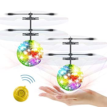 Slepwel Magic Flashing Led Flying Ball RC Helicopter Toys for Kids Boys Girls Hand Operated Rechargeable Infrared Induction and Remote Control Drone Flying Toys Fun Gadget Outdoor Sports Games 2 Pack