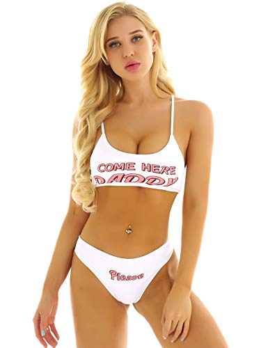 YiZYiF Women's 2Pcs Yes Daddy Bra Cheeky Thongs Lingerie Set Anime Cosplay Outfits White Small