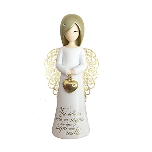 You Are An Angel ASF001I Figurina Angelo, Ceramica, Bianco, 12.5 cm