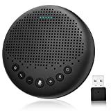 Bluetooth Speakerphone – eMeet Luna Conference Speaker, w/Enhanced Noise Reduction Algorithm, Daisy Chain, w/Dongle USB Speakerphone for Home Office, 360° Voice Pickup for 8 People Black