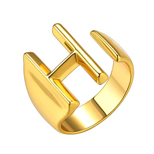 Unisex H Letter Statement Ring, Gold Captial Adjustable Initial Open Ring for Men