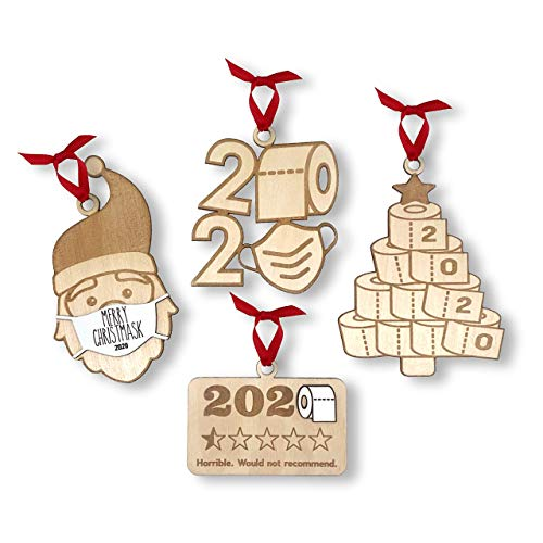 Quarantine Christmas 2020 Keepsake Ornament - Social Distancing Santa Claus with Mas'k - Toilet Paper Ornament - 2020 Christmas Ornament Keepsake - 2020 Would Not Recommend - 2020 Christmas Ornaments