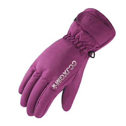 GQDP Gants Femme Imperméable Et Froid Plus Velours Épaississement Extérieure Ski Down Coton Hiver Chaud Moto Équitation - Violet - Taille unique