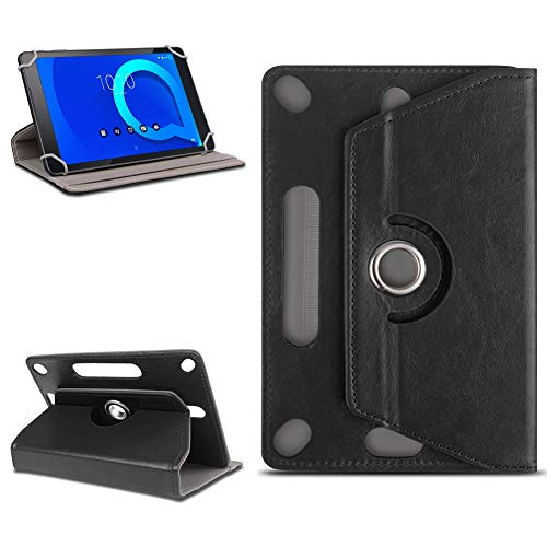 NAUC Tablet Tasche für Alcatel 1T 10 Schutztasche mit Ständerfunktion Hülle Schutzhülle Stand 10.1 Zoll Etui Cover Universal Hülle Leder-Optik 360° drehbar, Farben:Schwarz