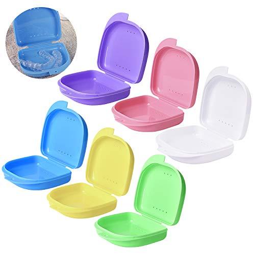 6 Stk Prothesendose Zahnersatz Dental Box Zahnprothesenbecher Zahnpflege Falsche Zähne Prothese Aufbewahrung Box Zahnspangen Box Dental Zahnersatz Retainer Box