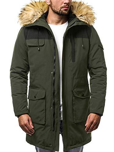 OZONEE Herren Winterjacke Parkajacke Parka Jacke Kapuzenjacke Wärmejacke Wintermantel Coat Wärmemantel Wärmemantel Warm Modern Täglichen JS/HS201816 Khaki XL